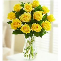 New Year Flowers Online , Yellow Roses Vase