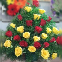 Yellow & Red Roses_Basket