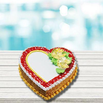 Heartshape Eggless Butterscotch Cake